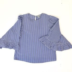 Kenar Blue & White Striped Top w/ 3/4 Bell Sleeves
